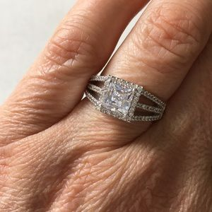 Jewelry - Square CZ Silvertone engagement ring Size 8